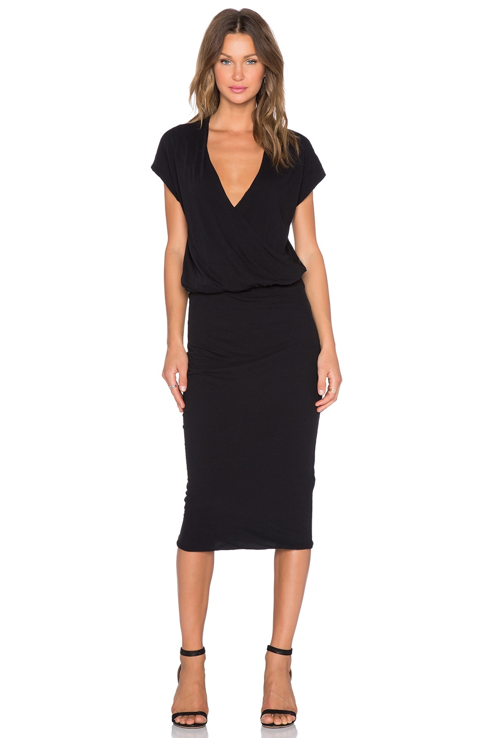 James Perse Sleeveless Wrap Dress in Black