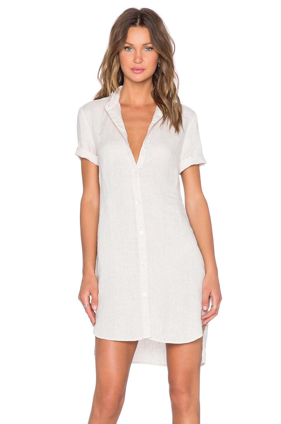 James Perse Linen Shirt Dress In Ceramic Revolve
