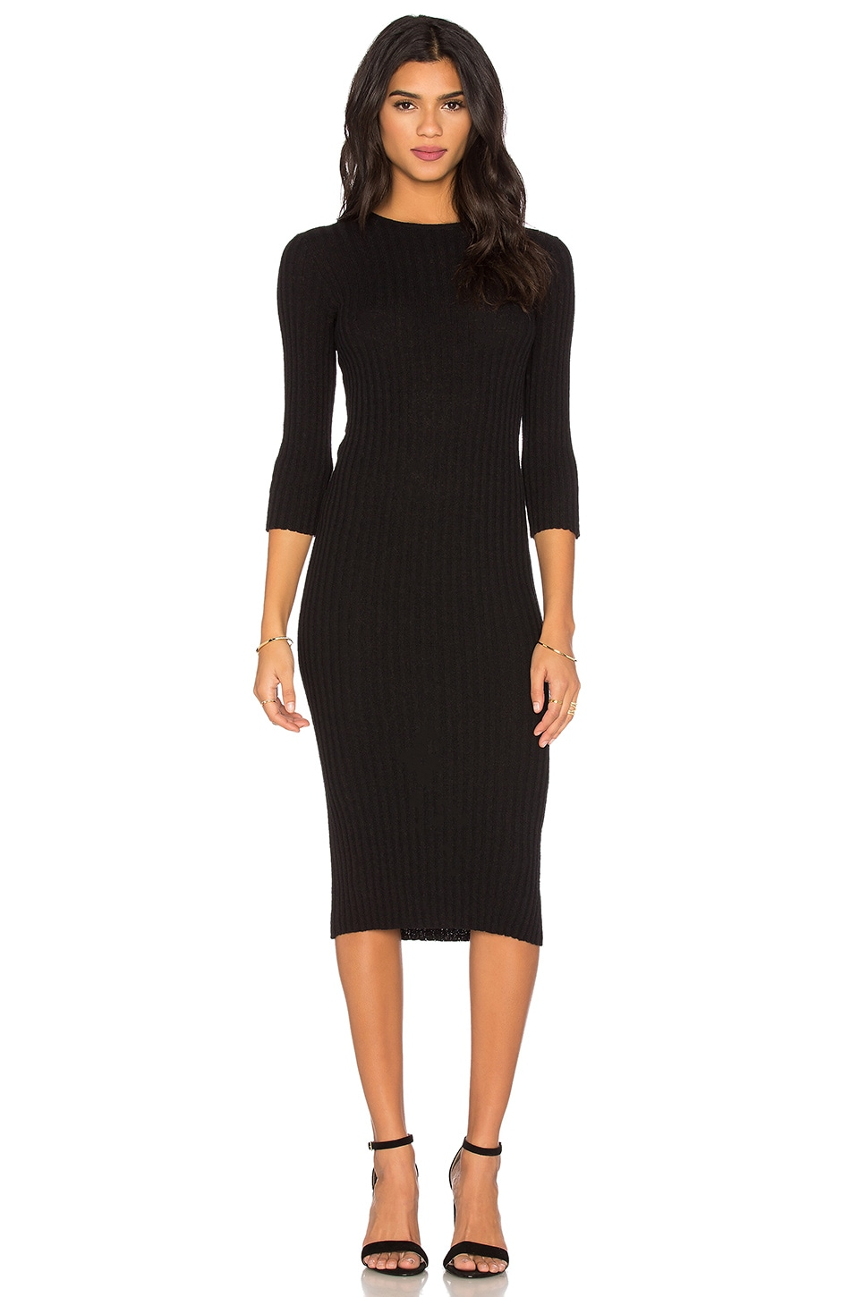 James Perse Ribbed Cotton Terry Dress in Black