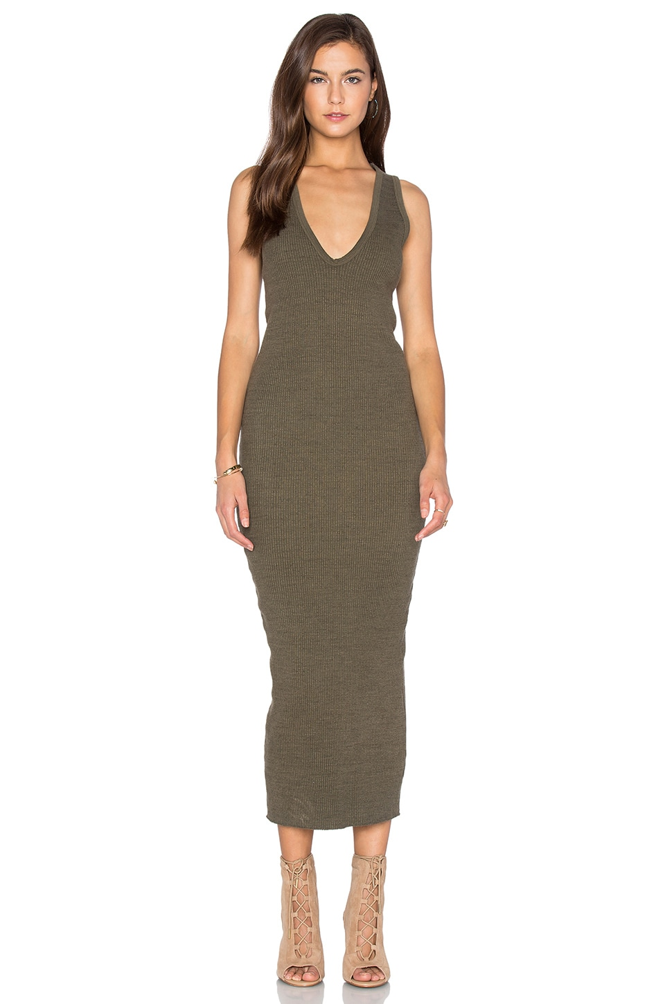 James Perse Heavy Rib V-Neck Dress in Marjoram