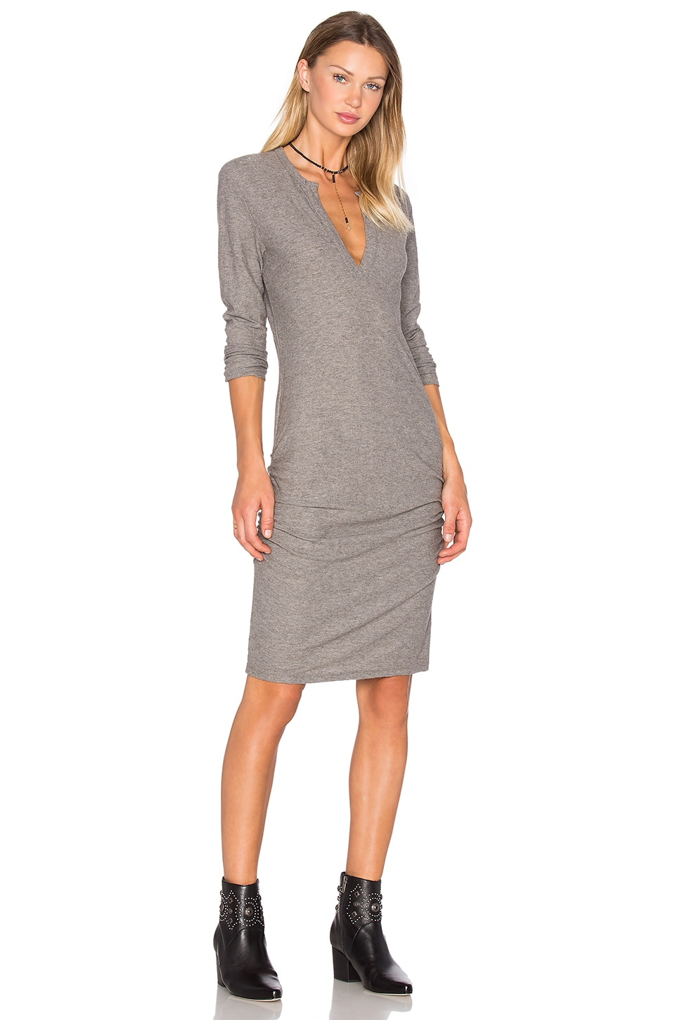 James Perse Henley Dress in Charcoal Melange
