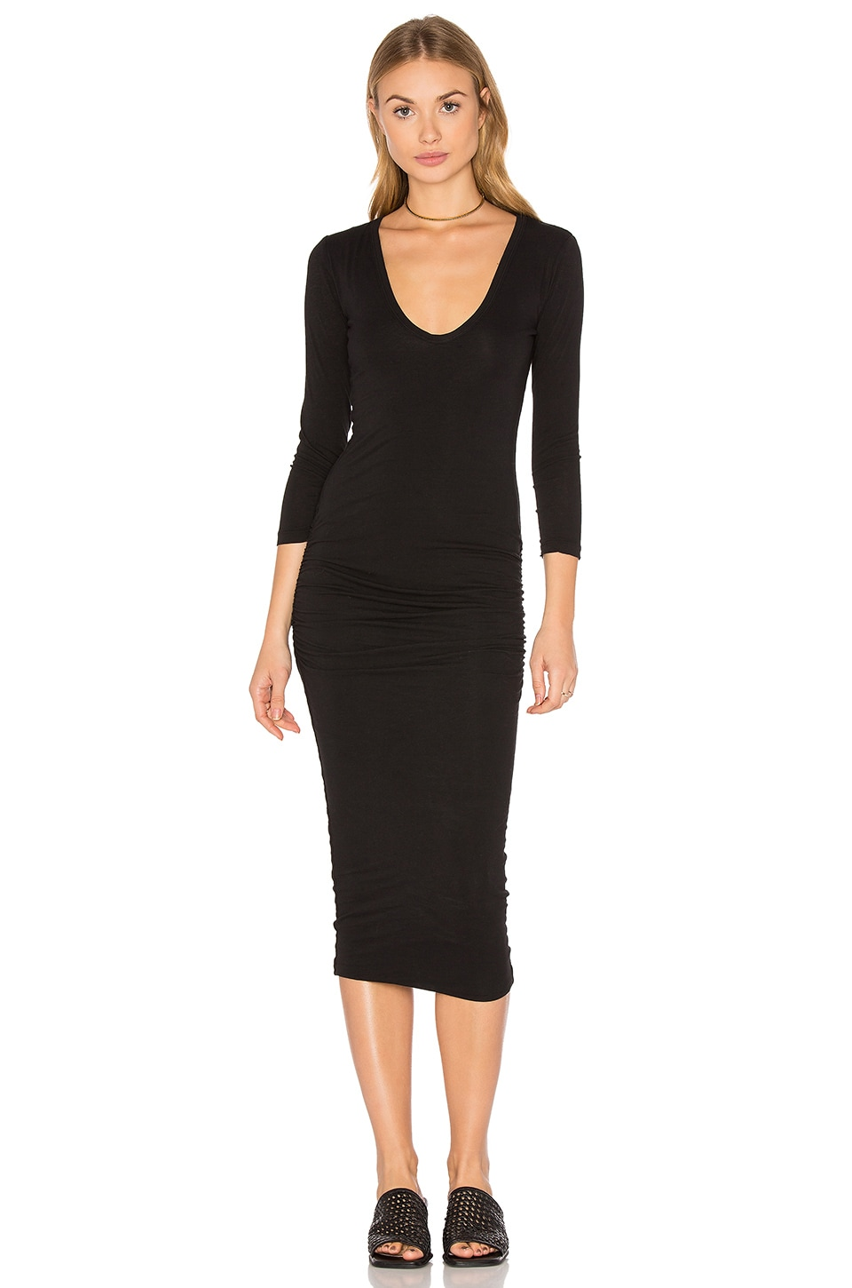 James Perse Classic V-Neck Skinny Dress in Black