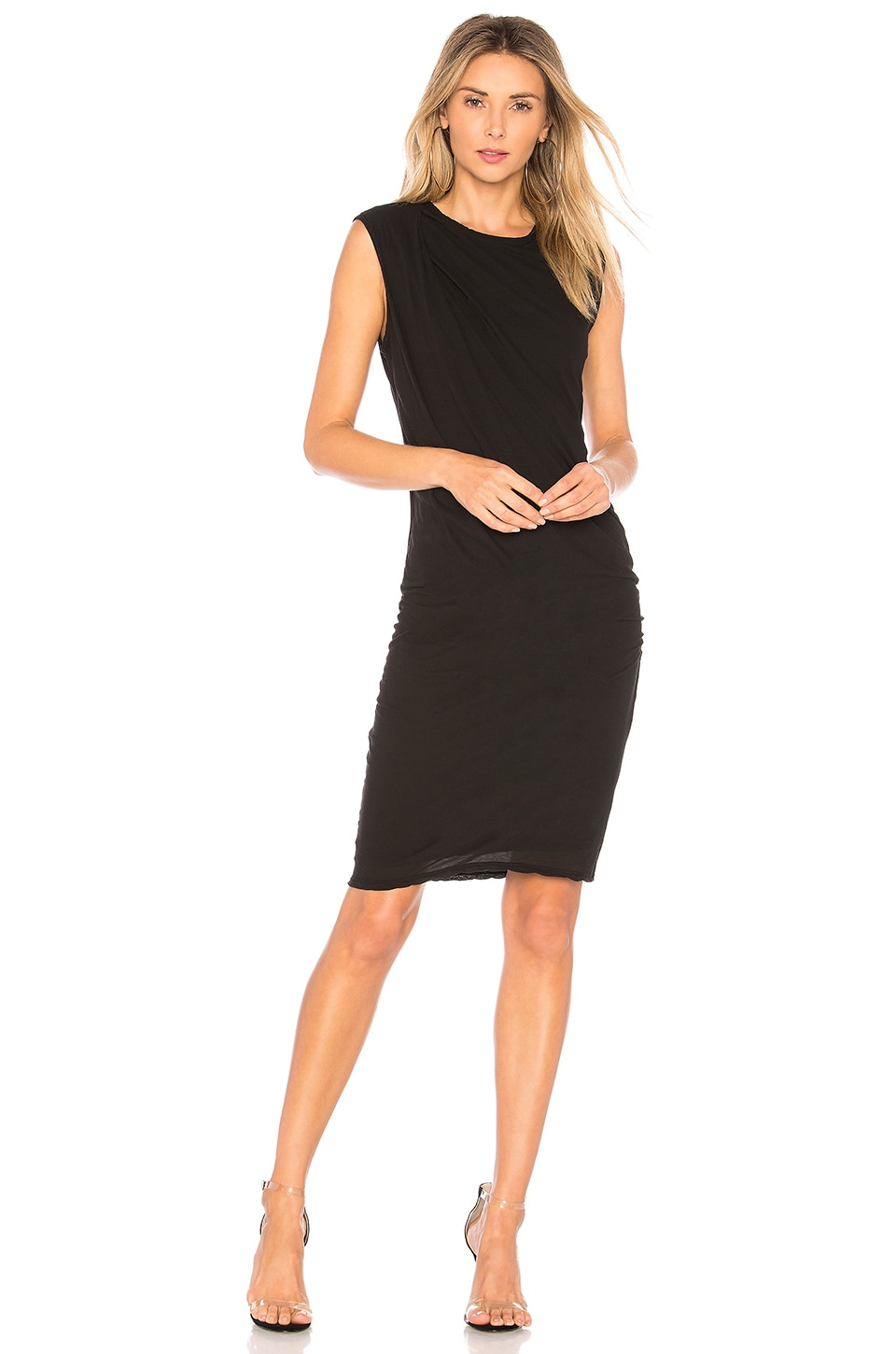 Skinny Tucked Dress in Black. - size 1 (XS/S) (also in 0 (XXS/XS),2 (S/M),3 (M/L)) James Perse