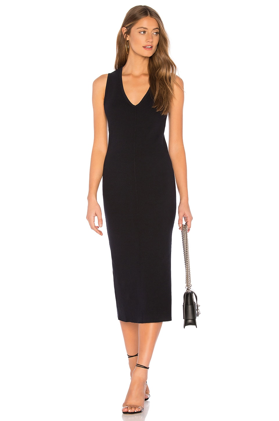 James Perse Contrast Binding Fitted Rib Dress in French Navy