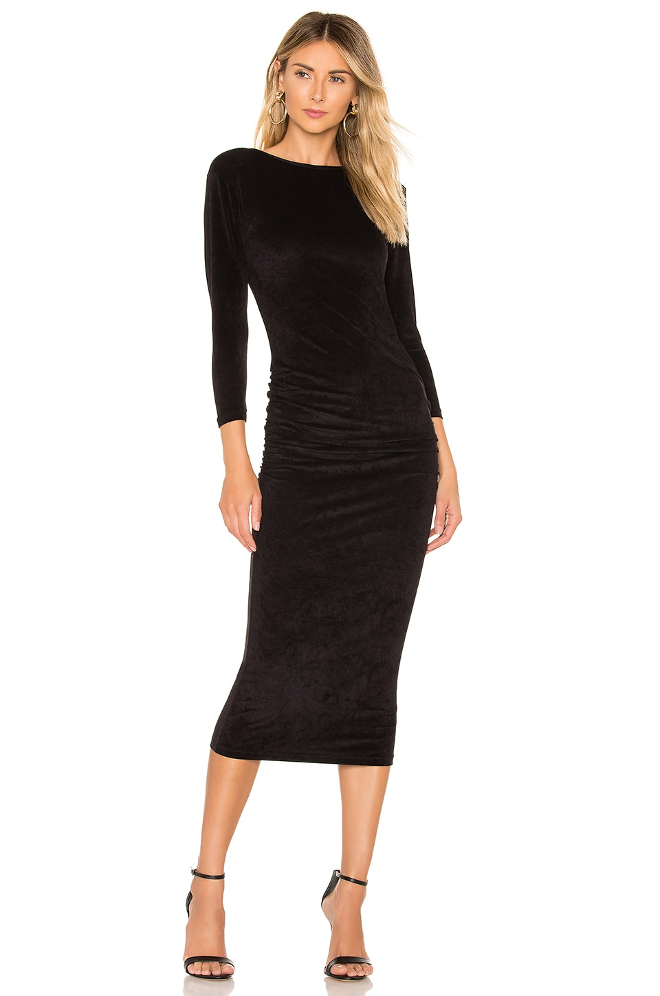 James Perse VESTIDO FITTED LOW BACK VELVET