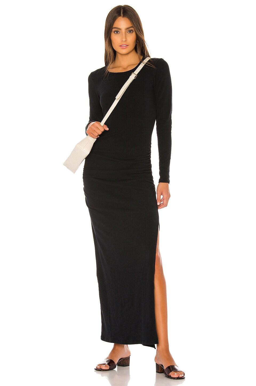 James Perse Sueded Jersey Long Sleeve Split Dress in Black