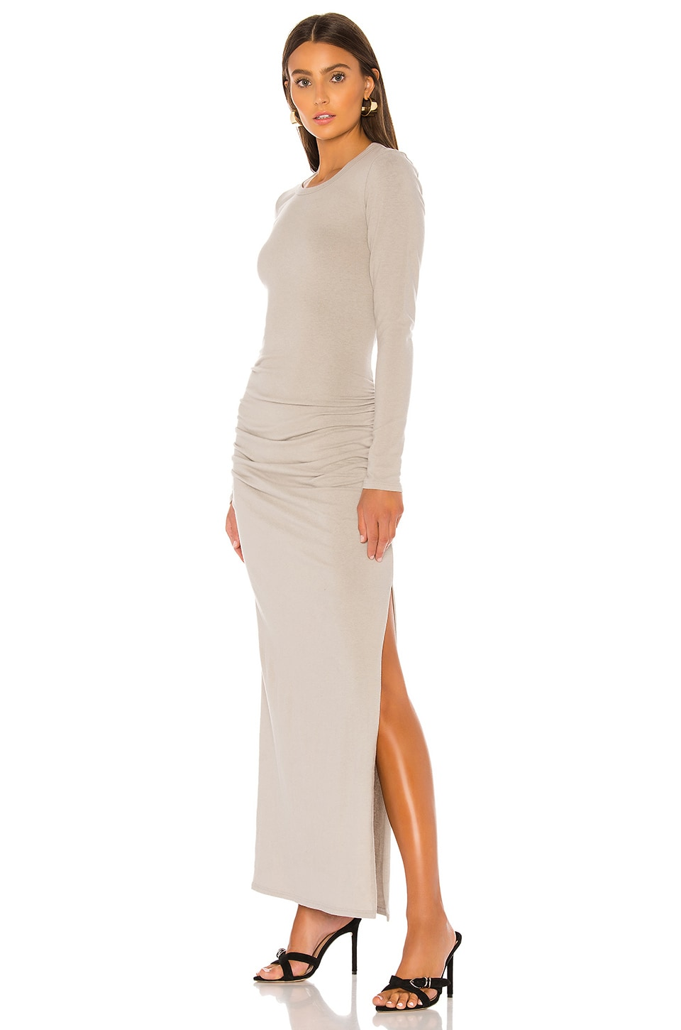 James Perse Sueded Jersey Long Sleeve Split Dress in Shadow