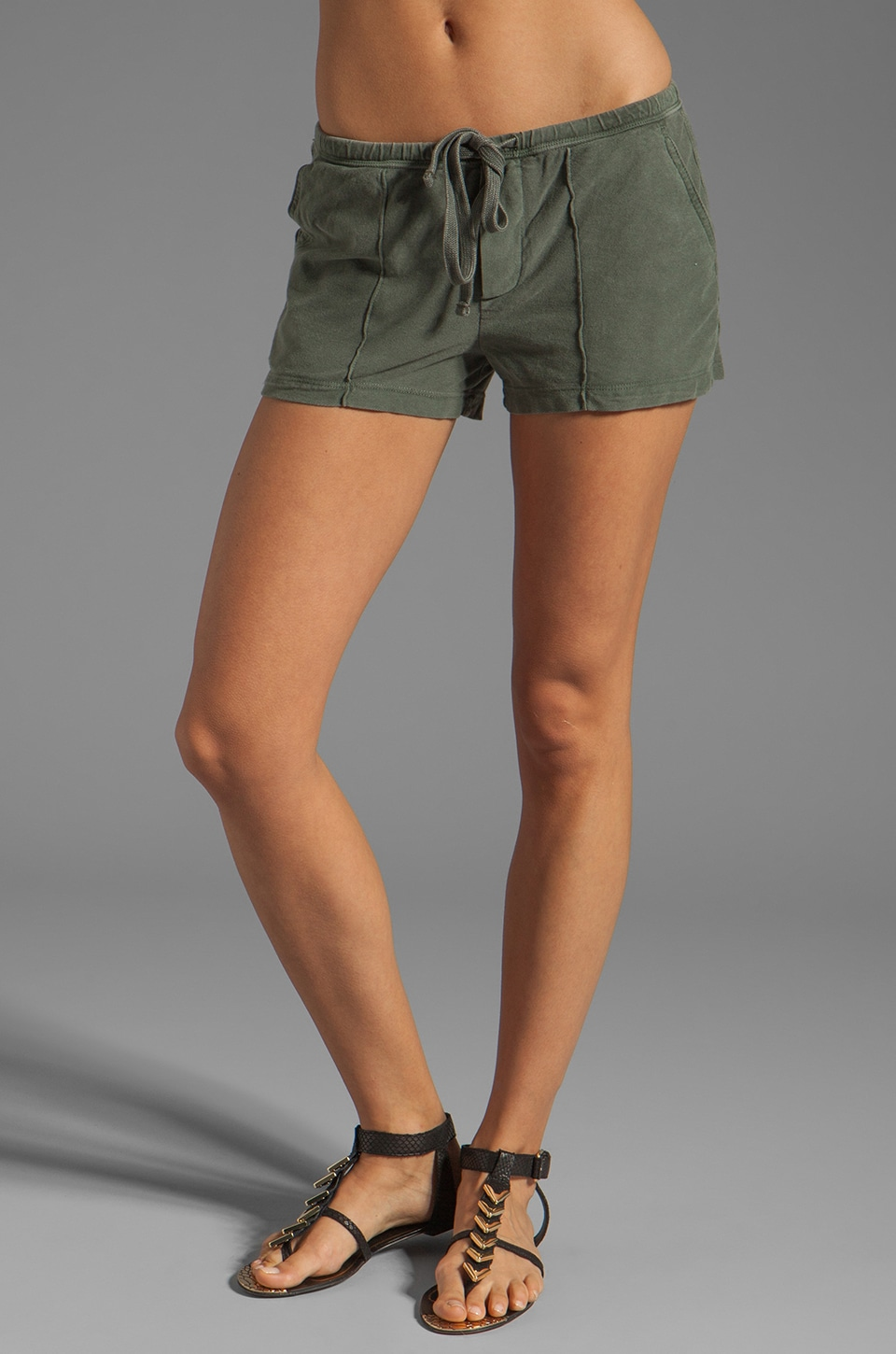 James Perse Pintucked Knit Twill Short in Alligator