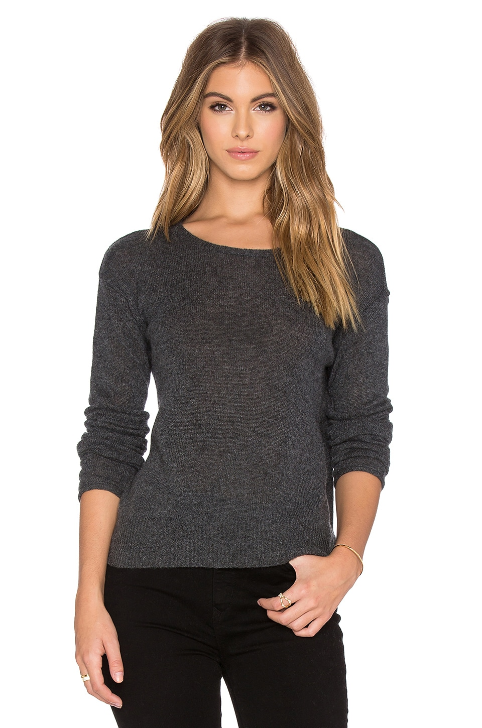 James Perse Cashmere Loose Gauze Sweater in Charcoal