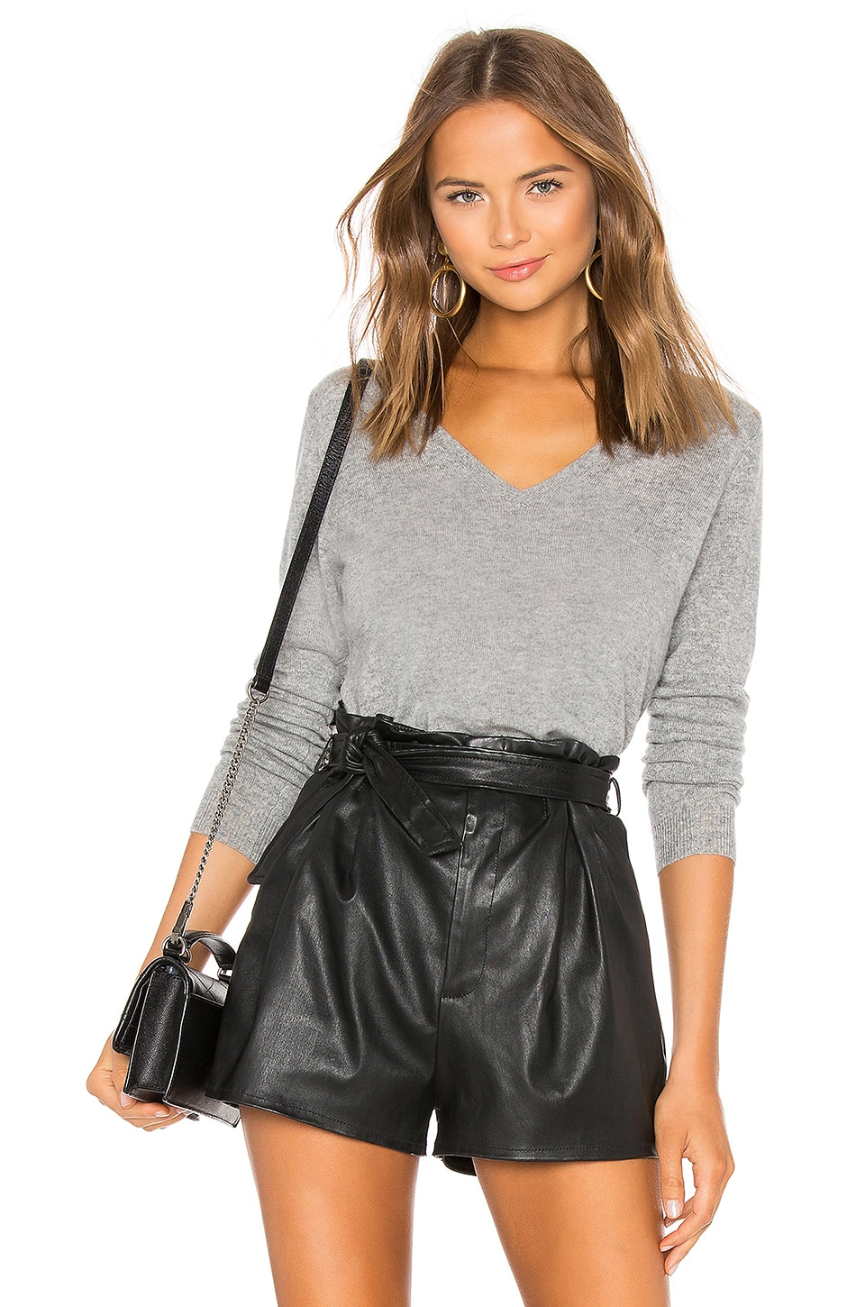 James Perse V Neck Cashmere Sweater in Heather Grey