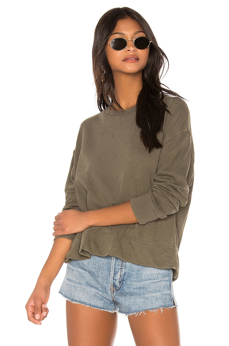 James Perse Relaxed Crop Pullover in Army Green Pigment