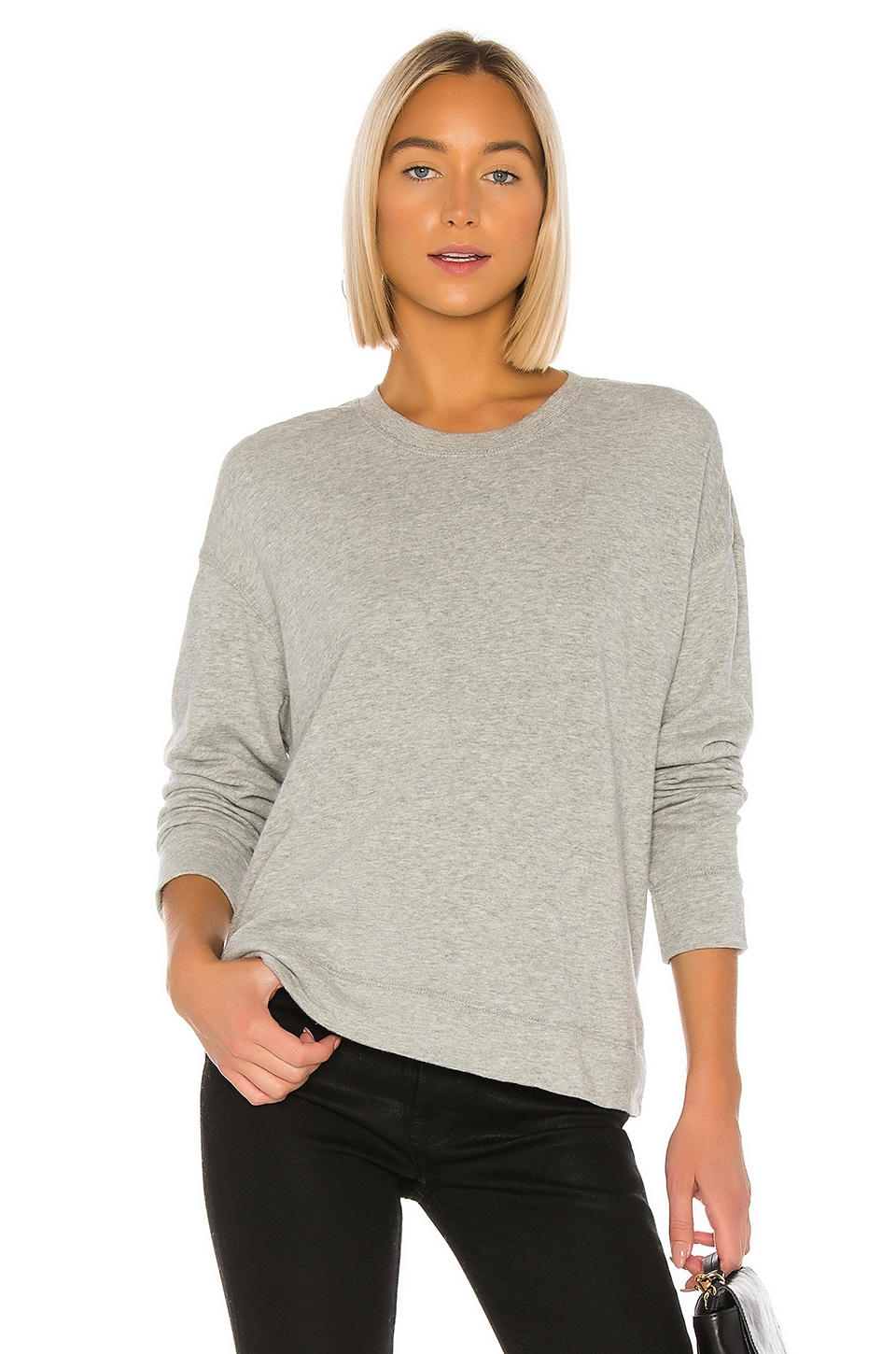 James Perse Relaxed Crop Pullover Sweatshirt in Heather Grey