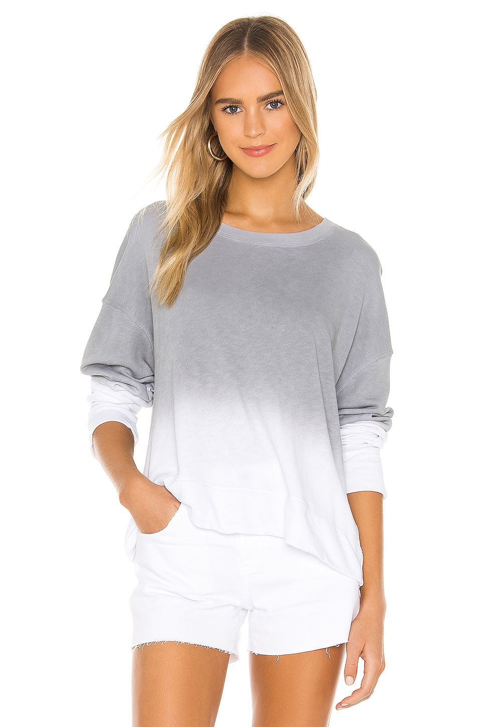 James Perse Spray Dye Sweat Top in Arctic White
