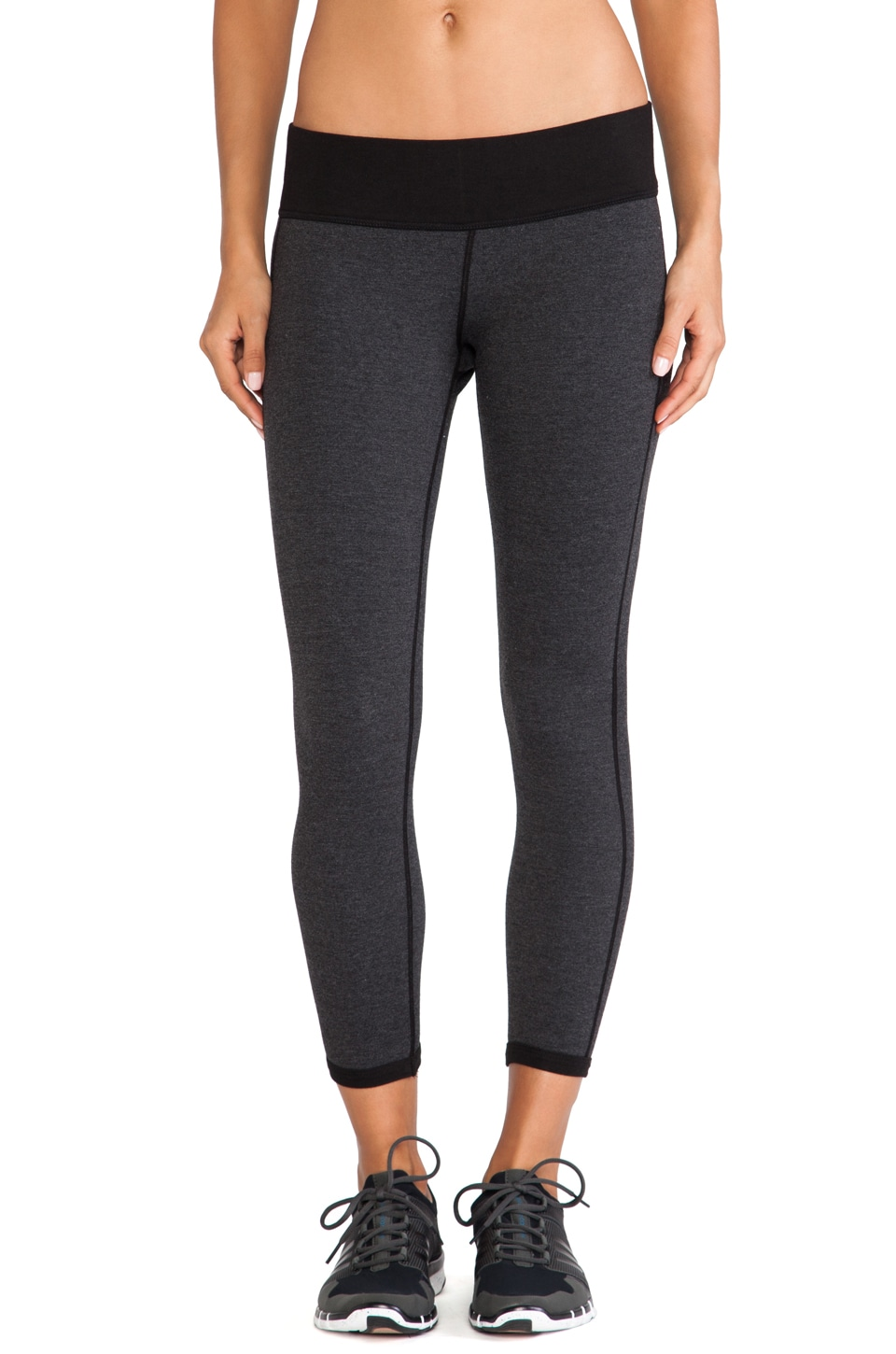 James Perse Contrast Yoga Capri in Black