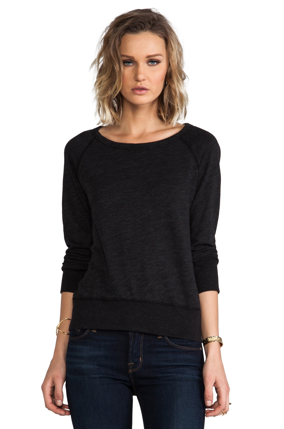 James Perse Vintage Fleece Sweatshirt in Black
