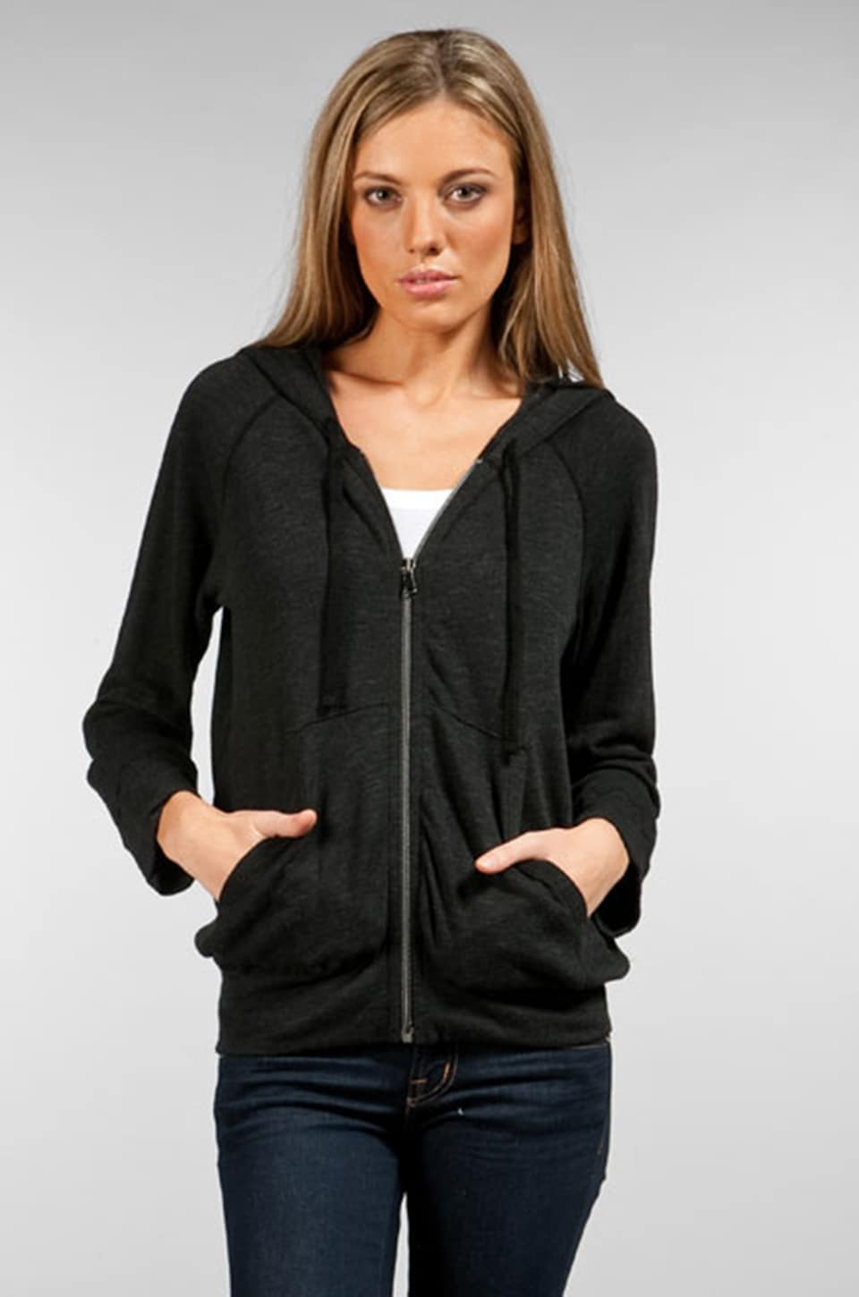 James Perse Slub Cropped Raglan Hoodie in Black