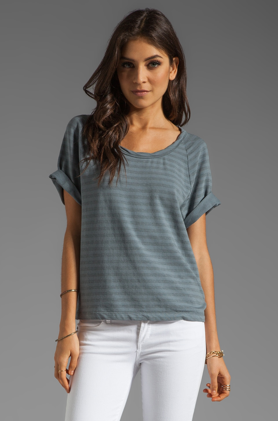 James Perse Short Sleeve Dolman Sweatshirt in Heather Grey/Tempest