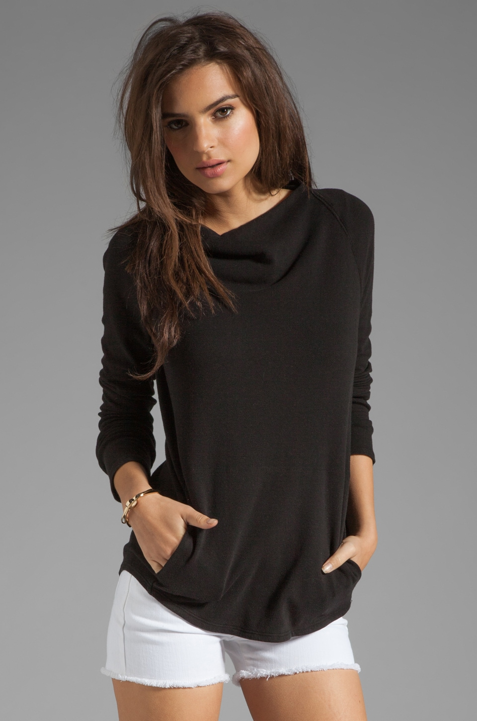 James Perse Tug Neck Raglan Pullover in Black