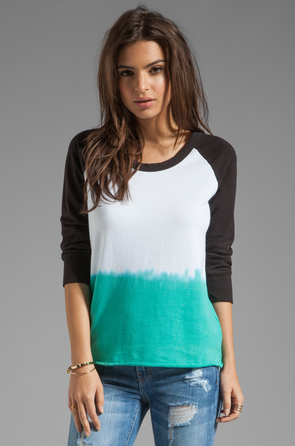 James Perse Dip Dye Raw Edge Pullover in White/Aquamarine
