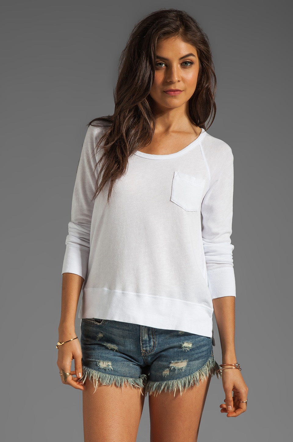 James Perse Raglan Pocket Pullover in White