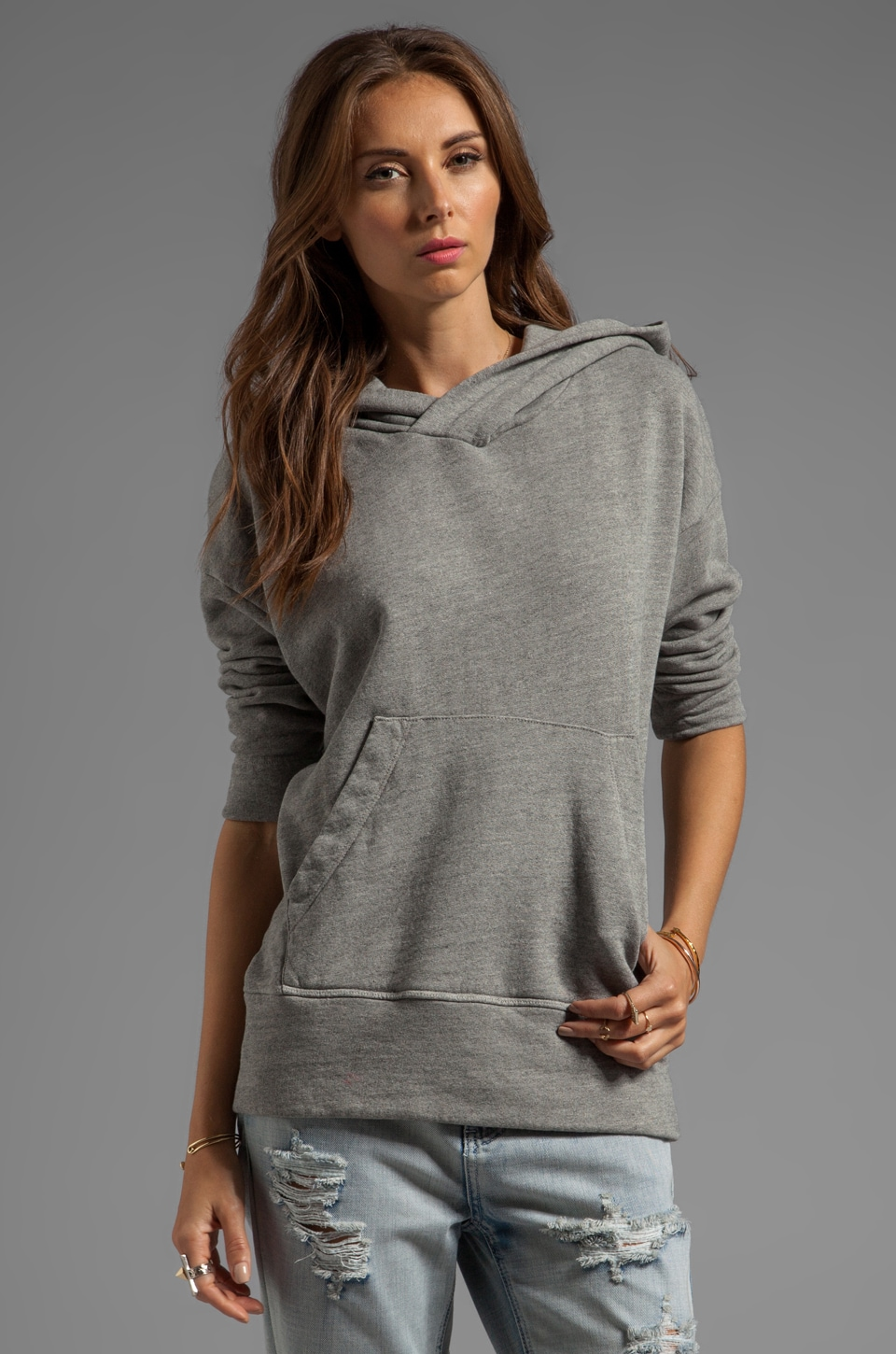 James Perse Oversize Cotton Hoodie in Shadow