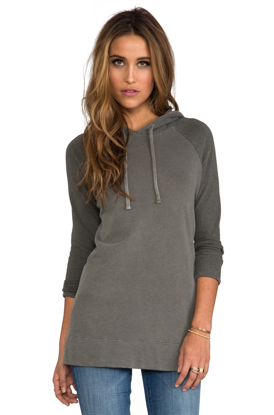 James Perse Colorblocked A Line Hoodie in Spruce