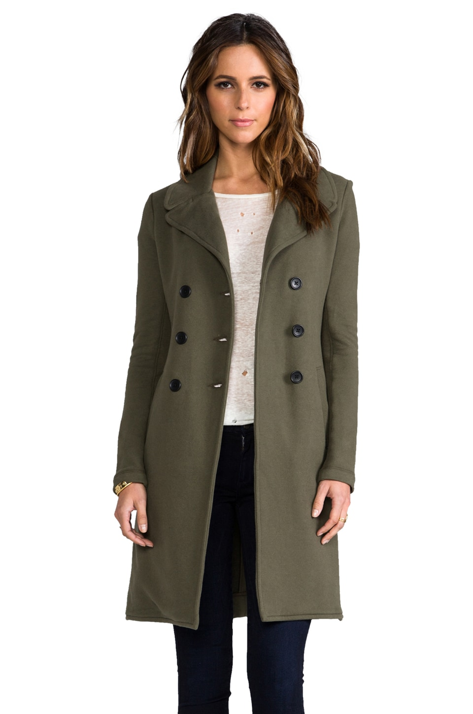 James Perse Long Fleece Military Coat in Army Green