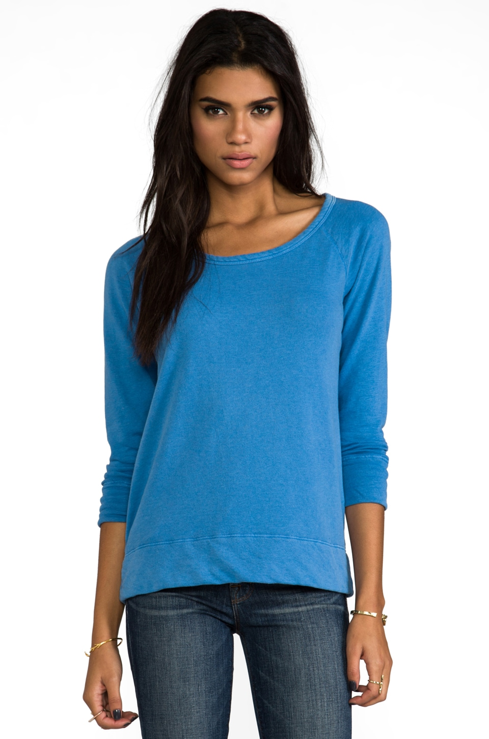 James Perse Vinatage Cotton Raglan Sweatshirt in Hume