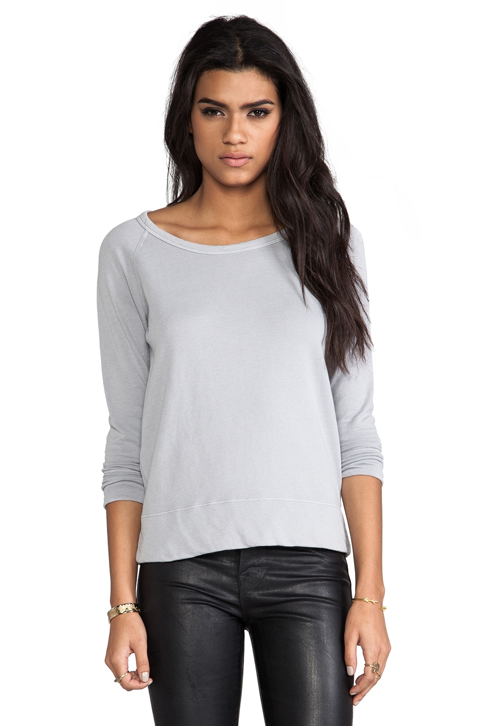 James Perse Vintage Cotton Raglan Pullover in Fog
