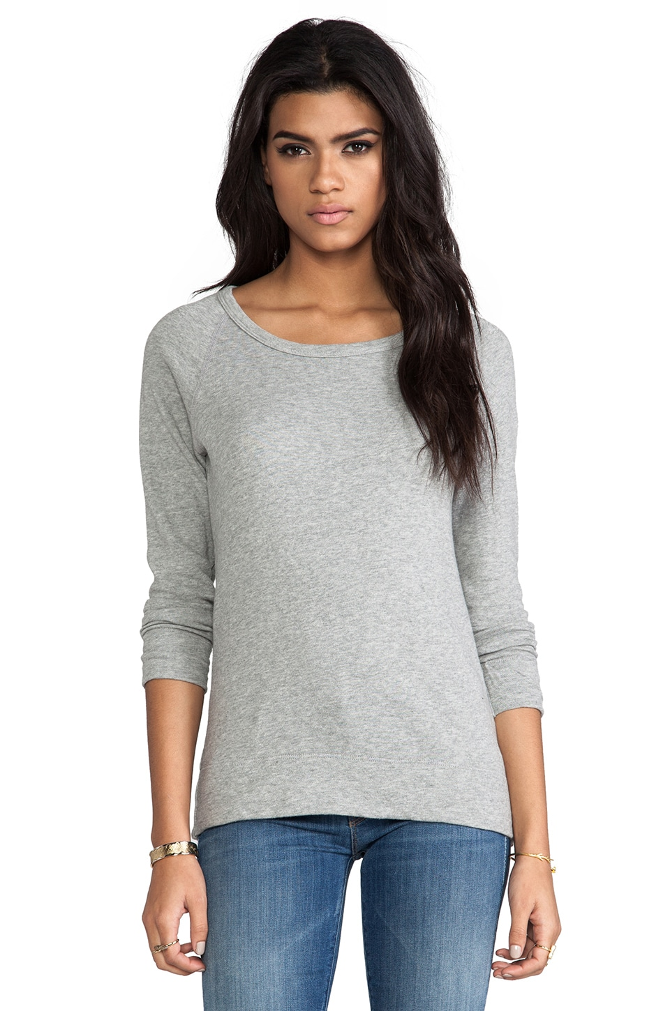 James Perse Vintage Cotton Raglan Pullover in Heather Grey