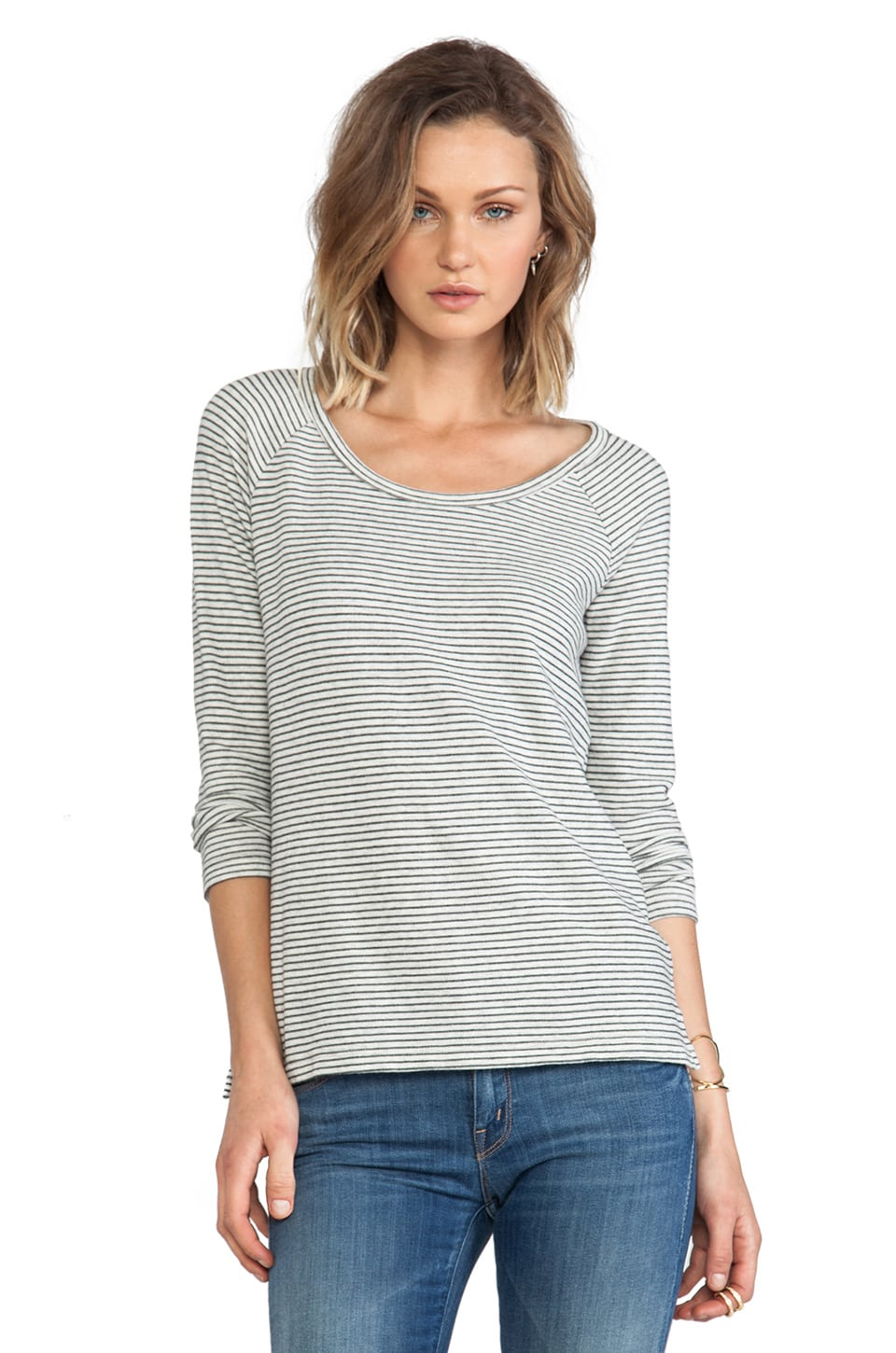 James Perse Mini Stripe Raglan Pullover in Heather Grey