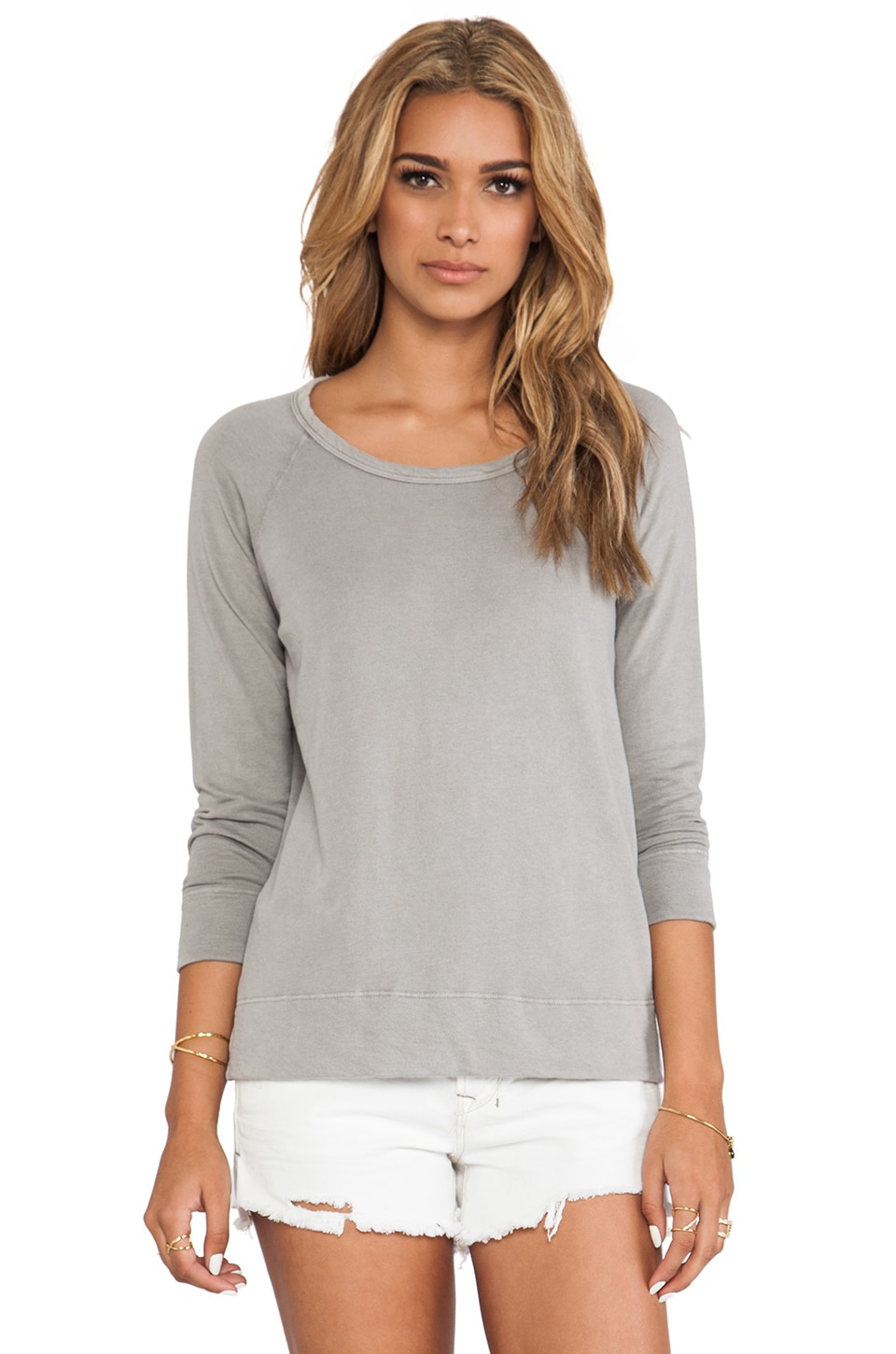 James Perse Vintage Cotton Raglan Pullover in Shadow