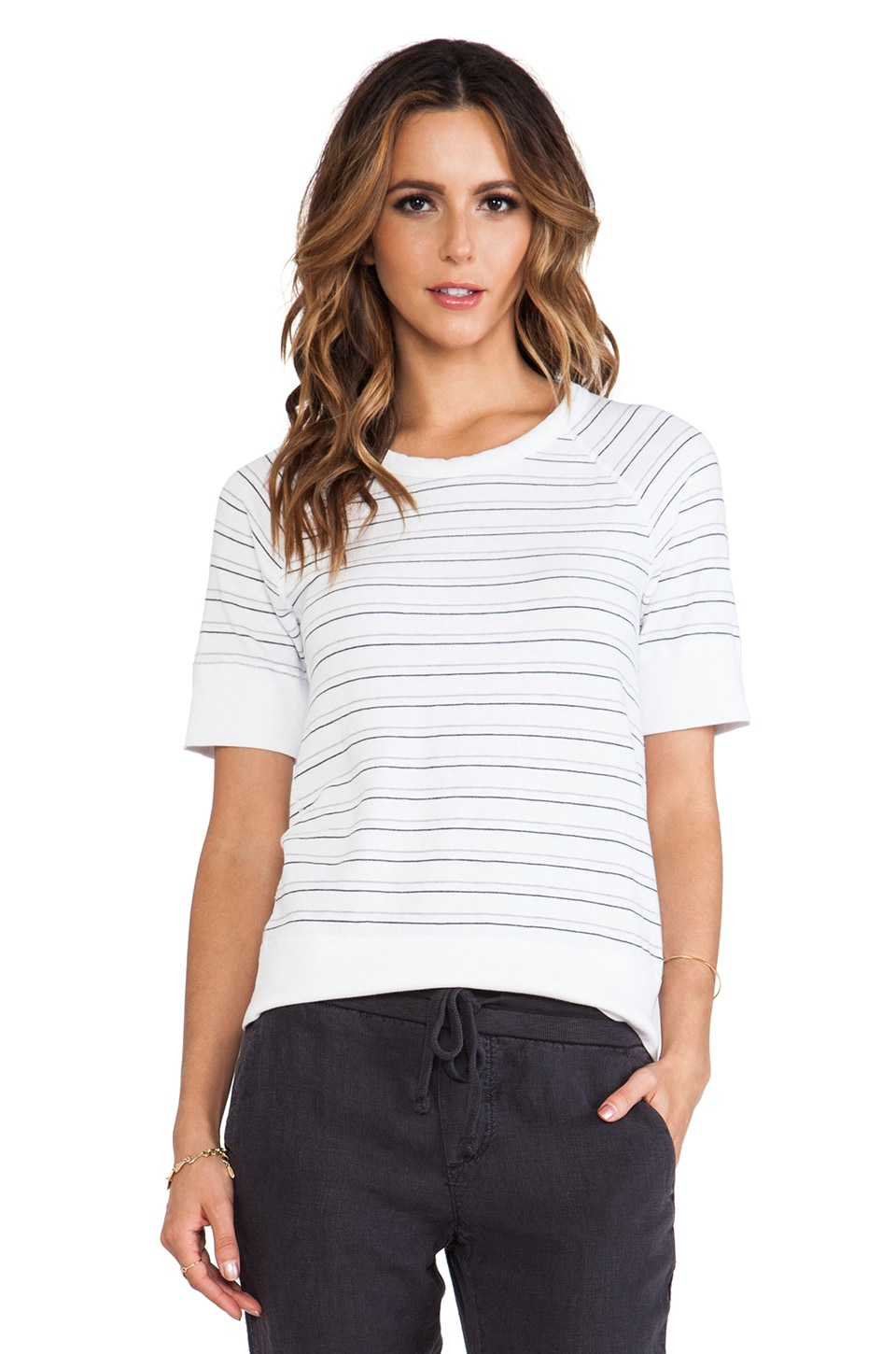 James Perse Stripe Raglan Pullover in White