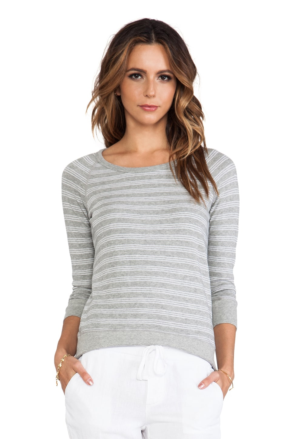 James Perse Stripe Vintage Raglan in Heather Grey