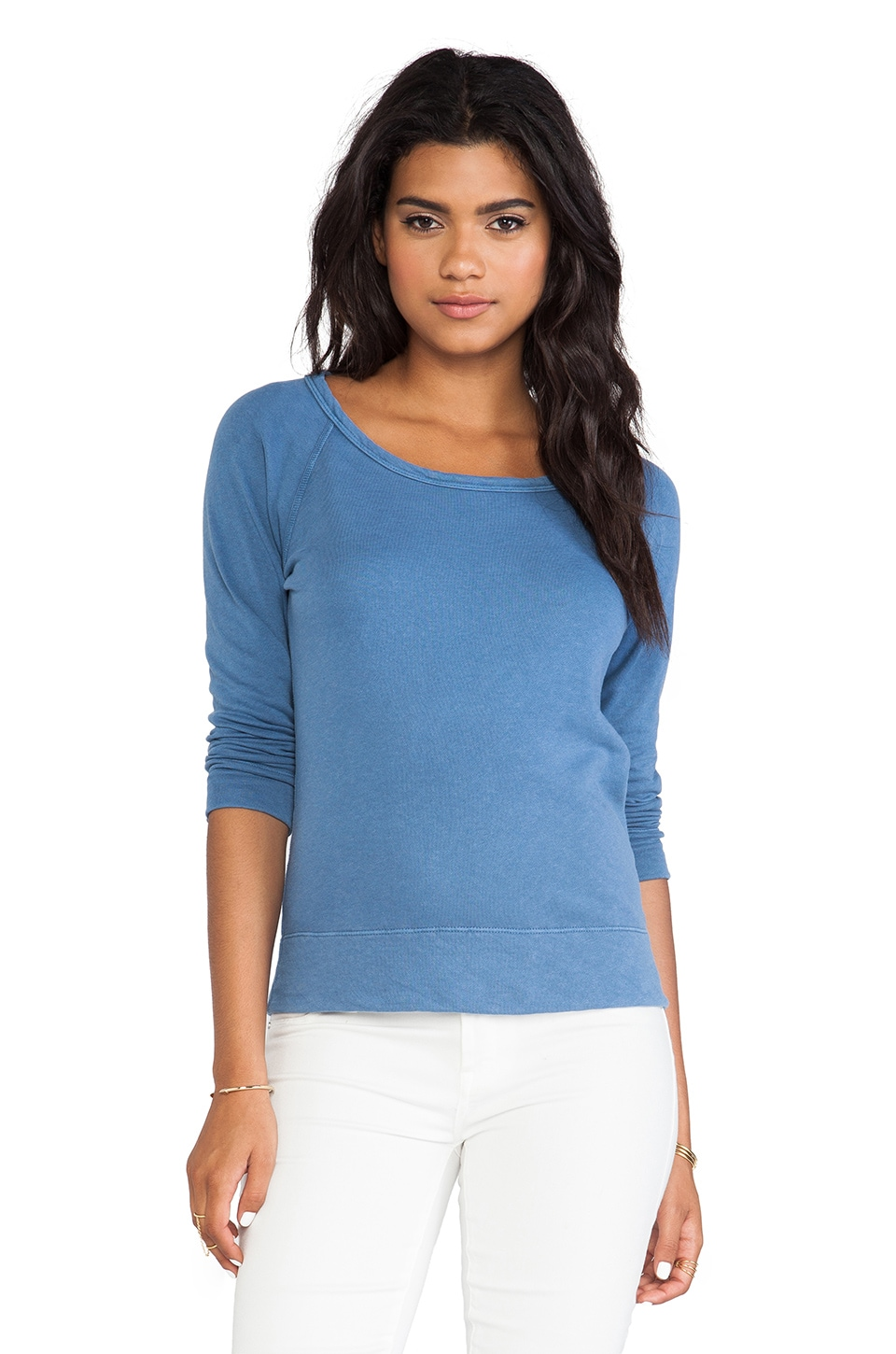 James Perse Vintage Cotton Raglan Pullover in Denim