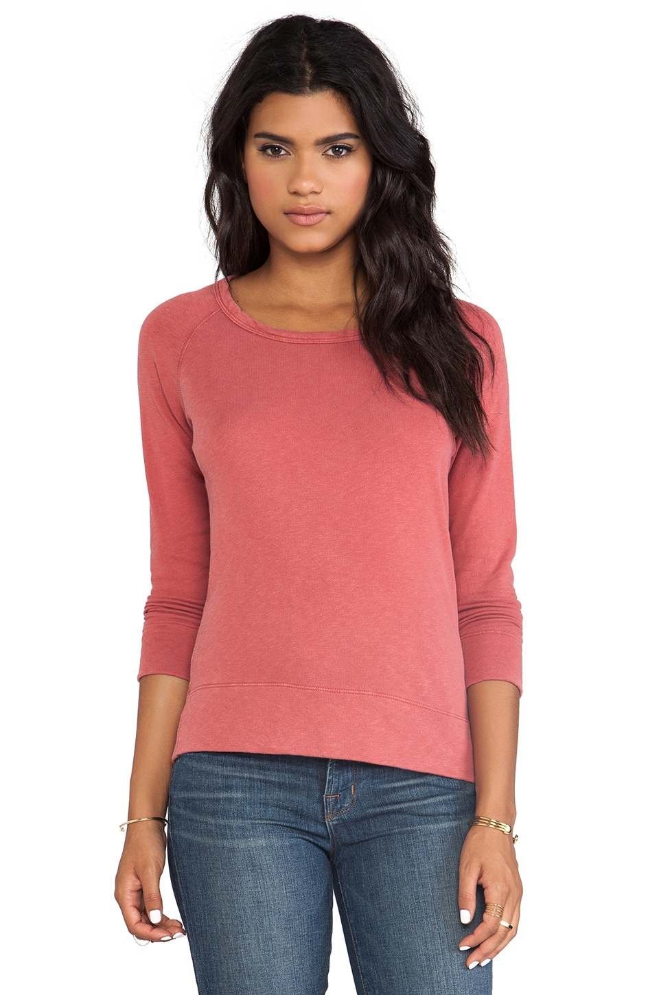 James Perse Vintage Cotton Raglan Pullover in Faded Red