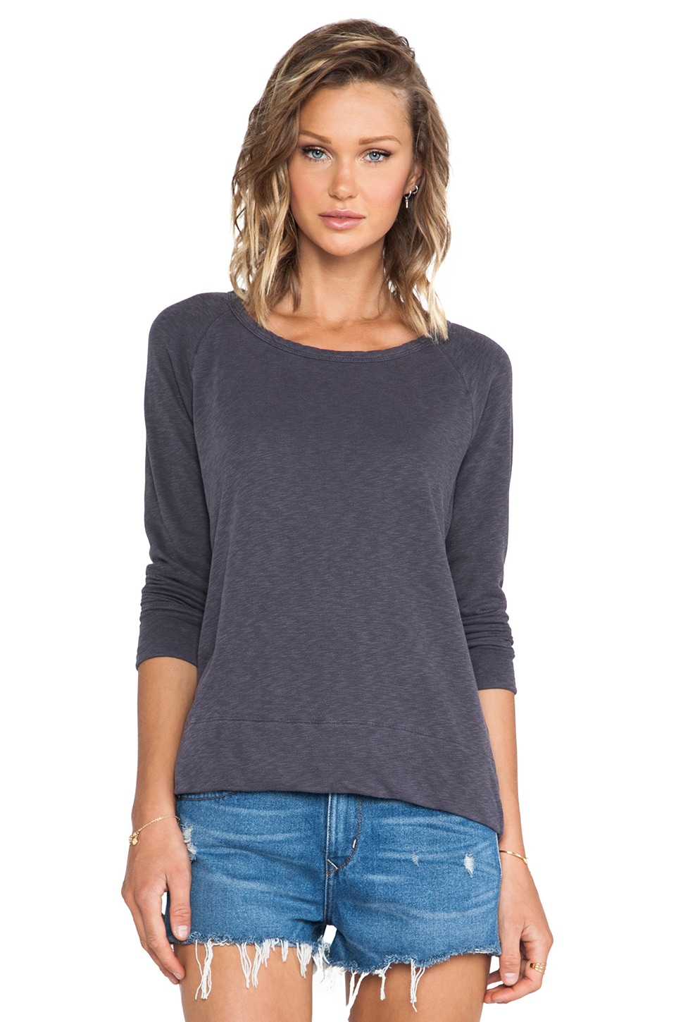 James Perse Vintage Cotton Raglan Pullover in Fig
