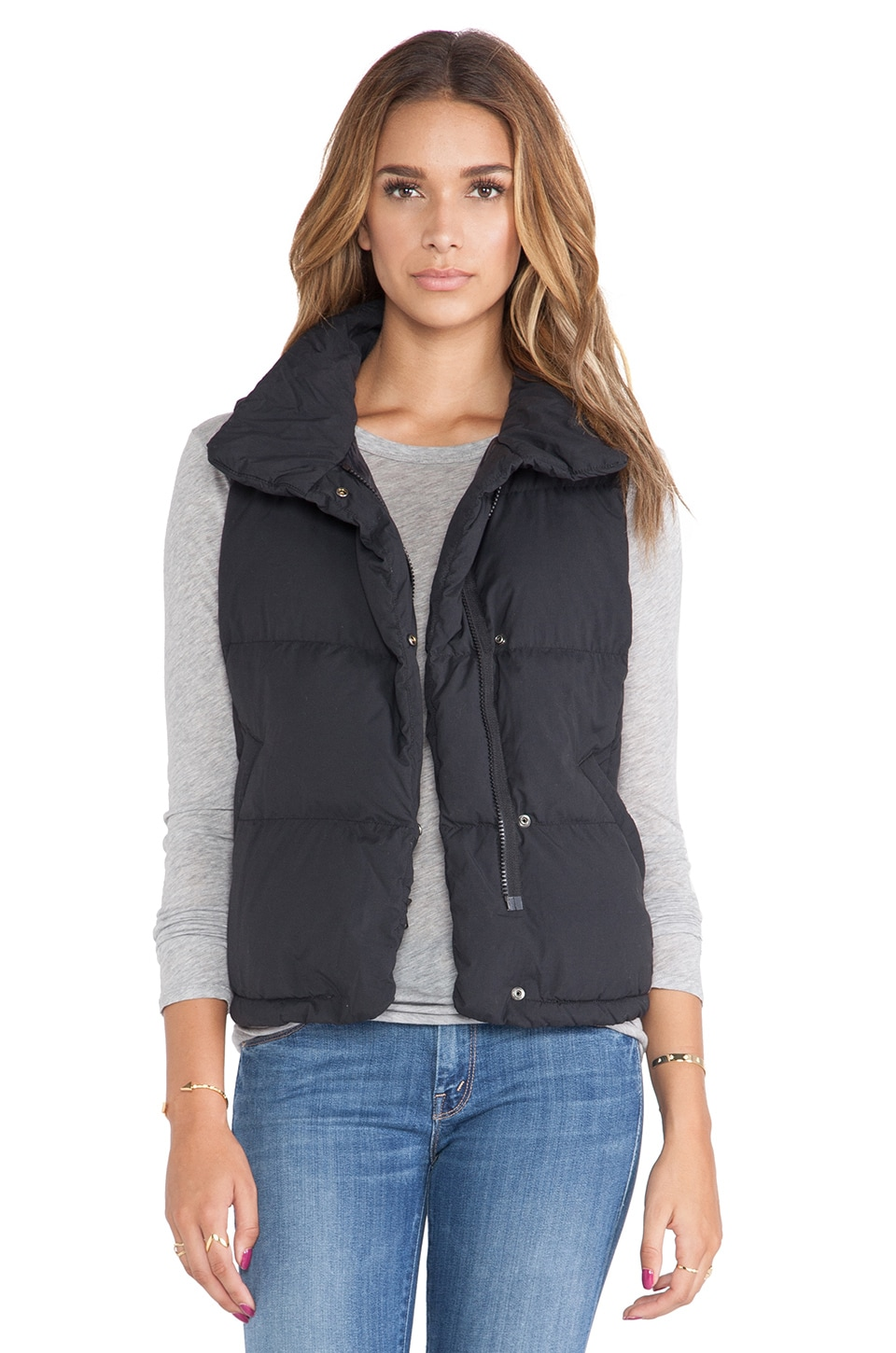 James Perse Down Filled Funnel Neck Vest in Black