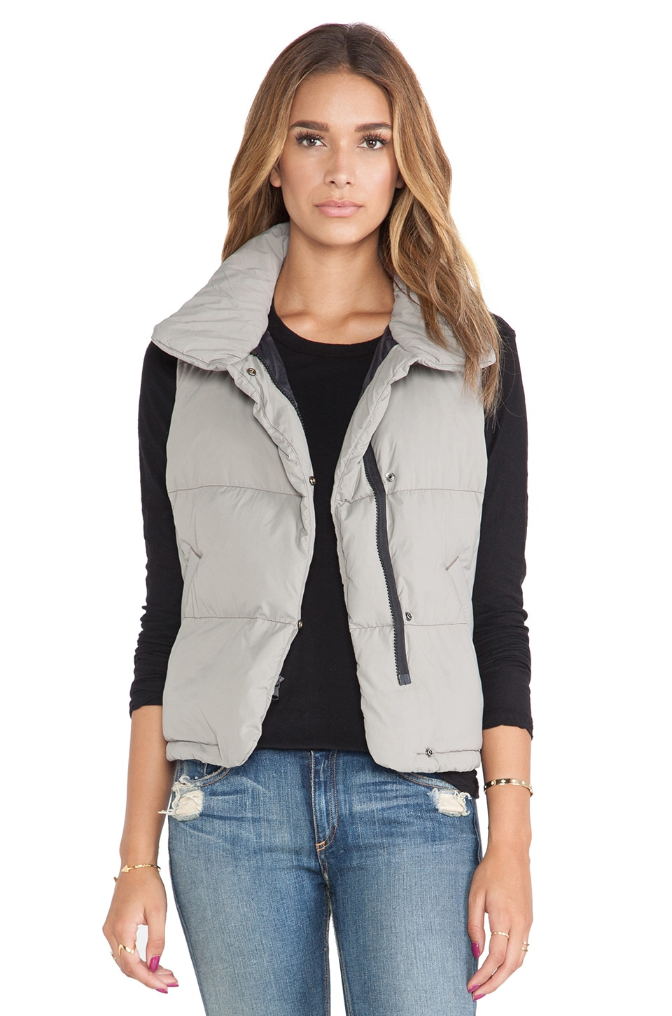 James Perse Down Filled Funnel Neck Vest in Shadow