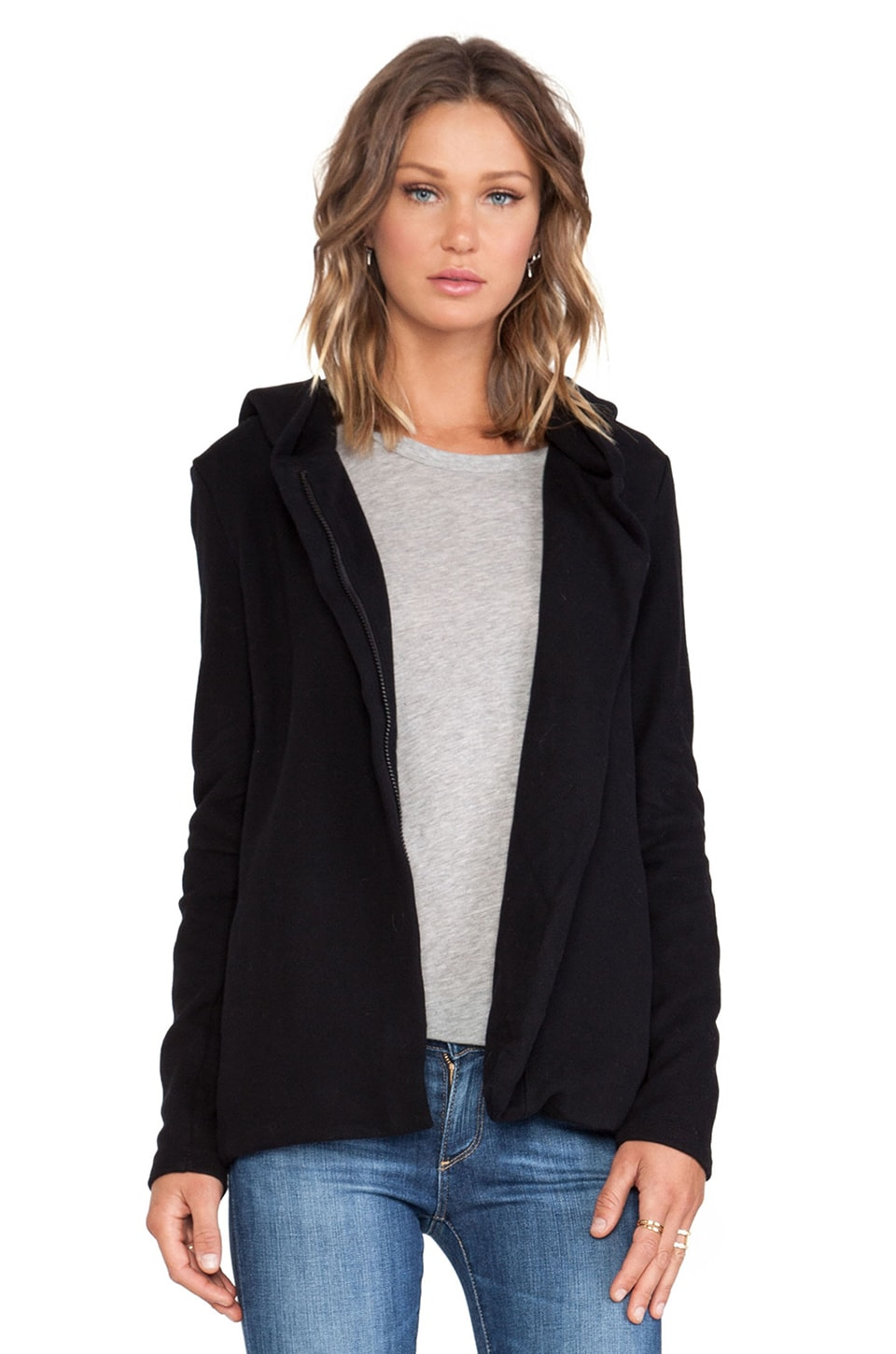 James Perse Hooded Fleece Zip Jacket in Black