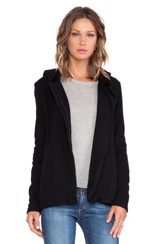 James Perse Hooded Fleece Zip Jacket in Black