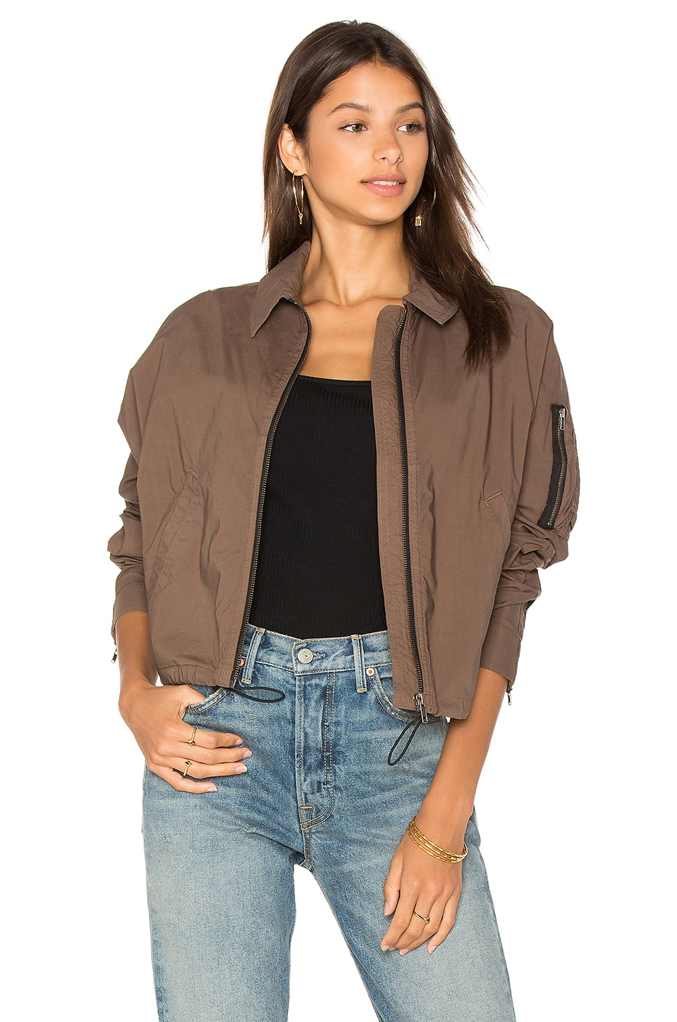 James Perse Batwing Bomber Jacket in Army Green