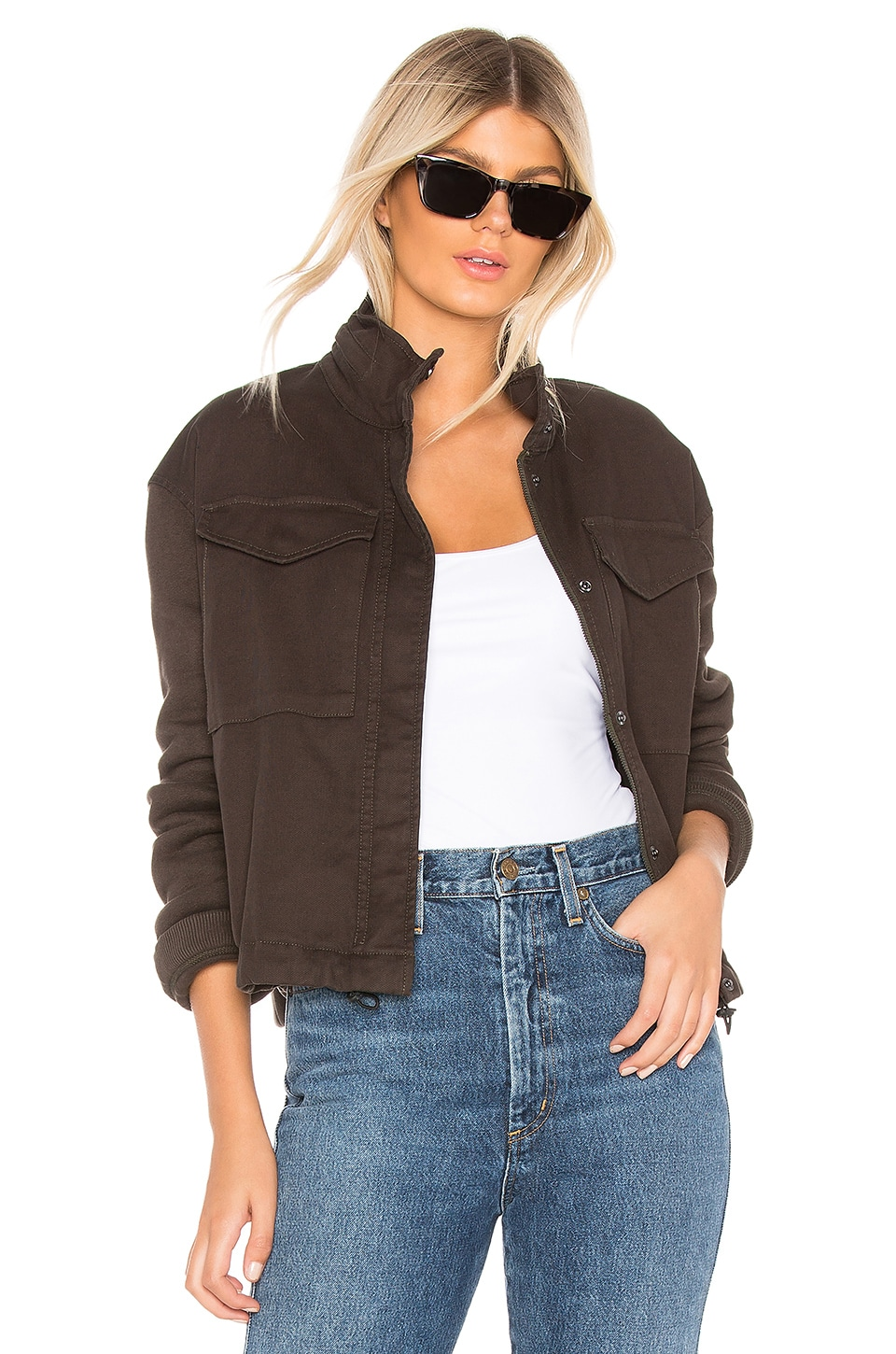 James Perse Crop Army Mixed Media Jacket