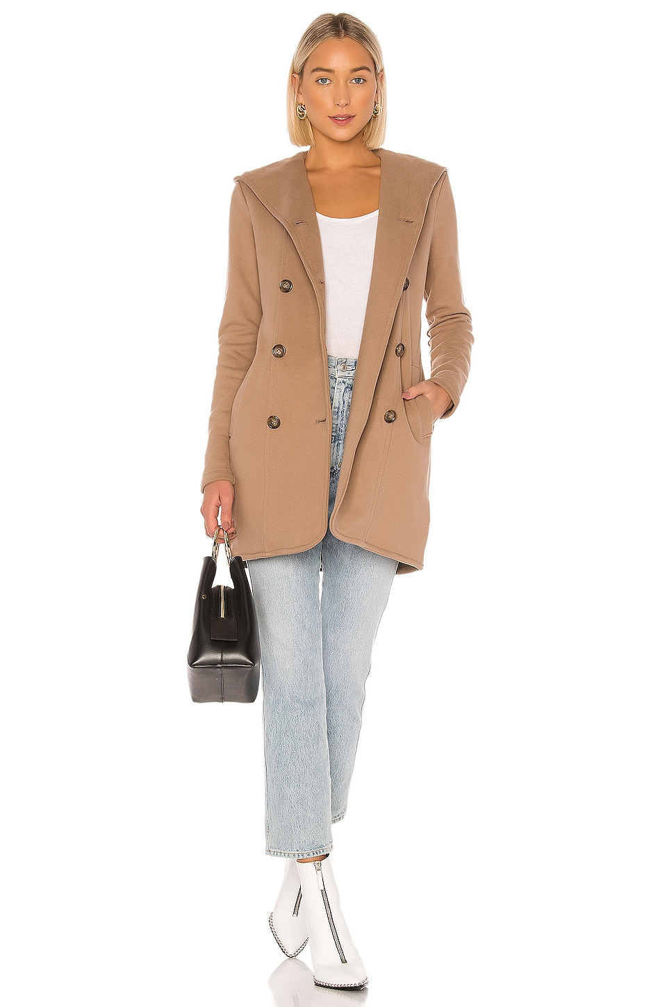 James Perse Double Breasted Hoodie Coat in Camel