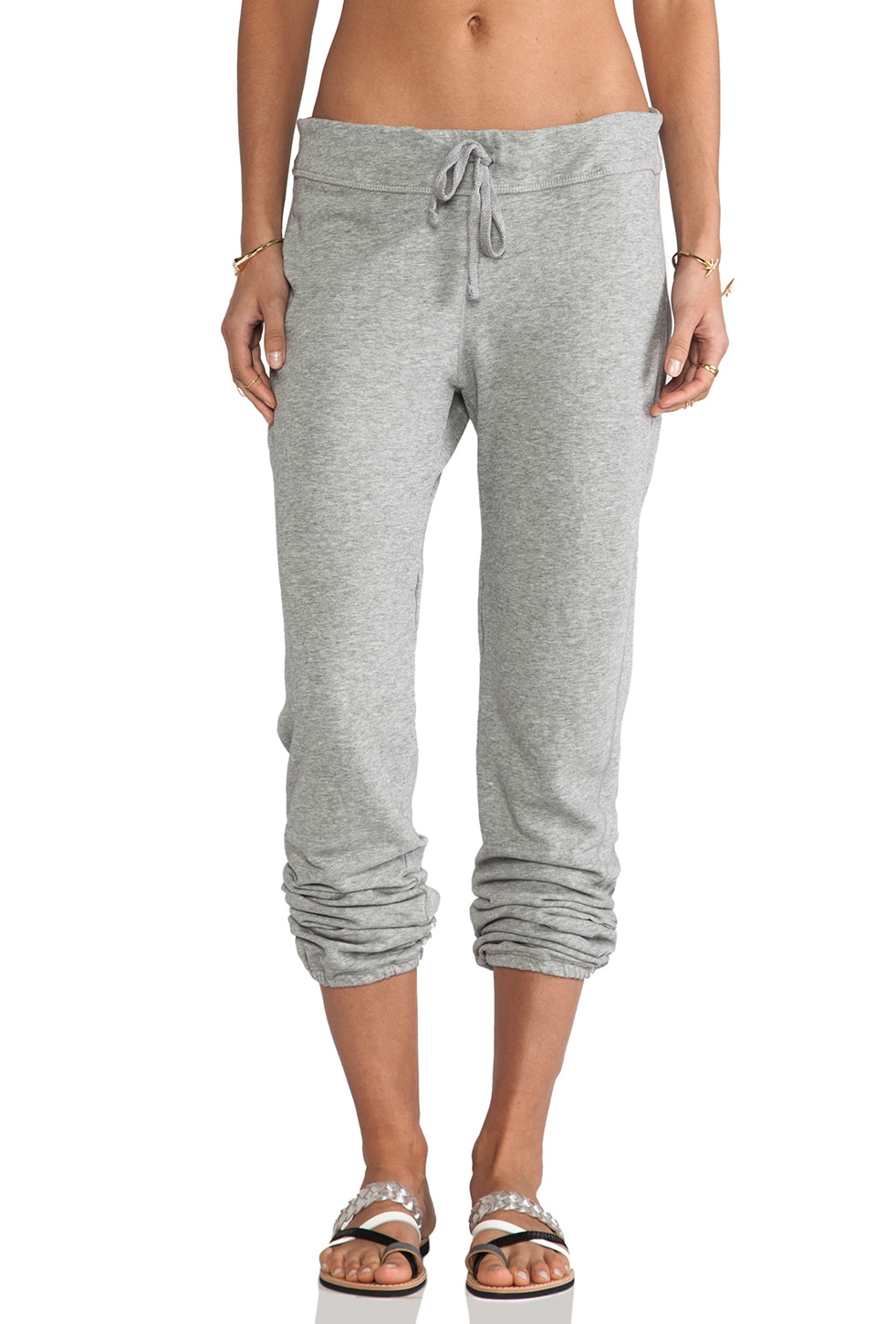 James Perse Vintage Cotton Genie Sweat Pant in Heather Grey