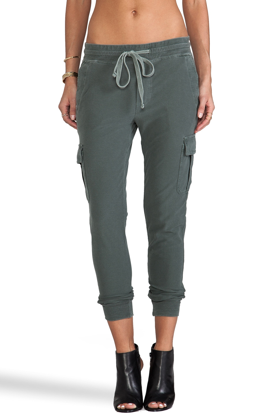 James Perse Knit Twill Cargo Pant in Jungle