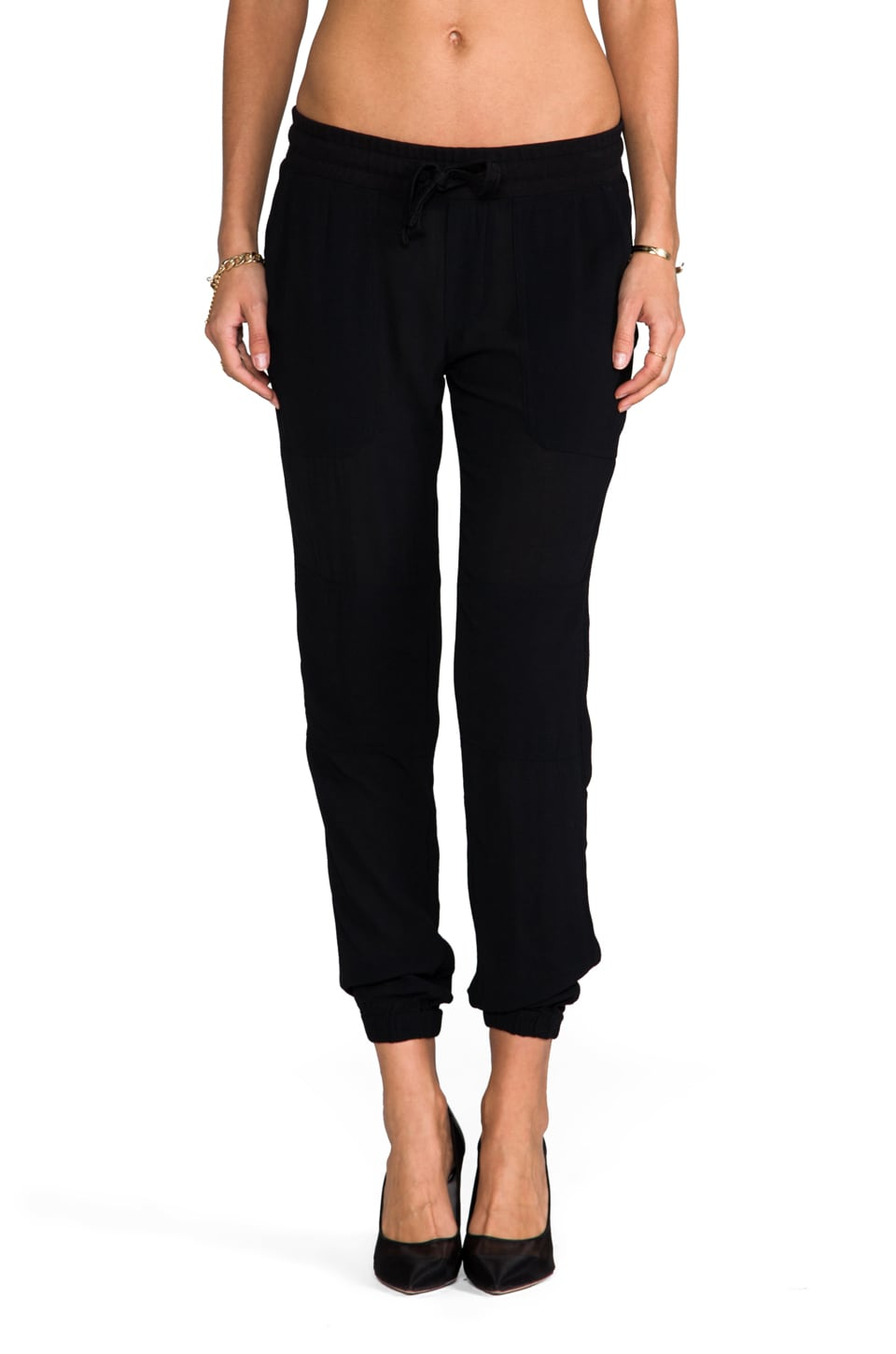 James Perse Crepe Surplus Pant in Black