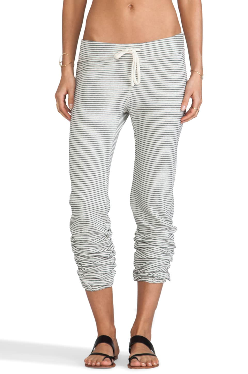 James Perse Mini Stripe Genie Sweat Pant in Heather Grey