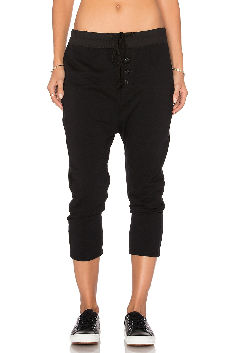 James Perse Slouchy Collage Sweatpant in Black