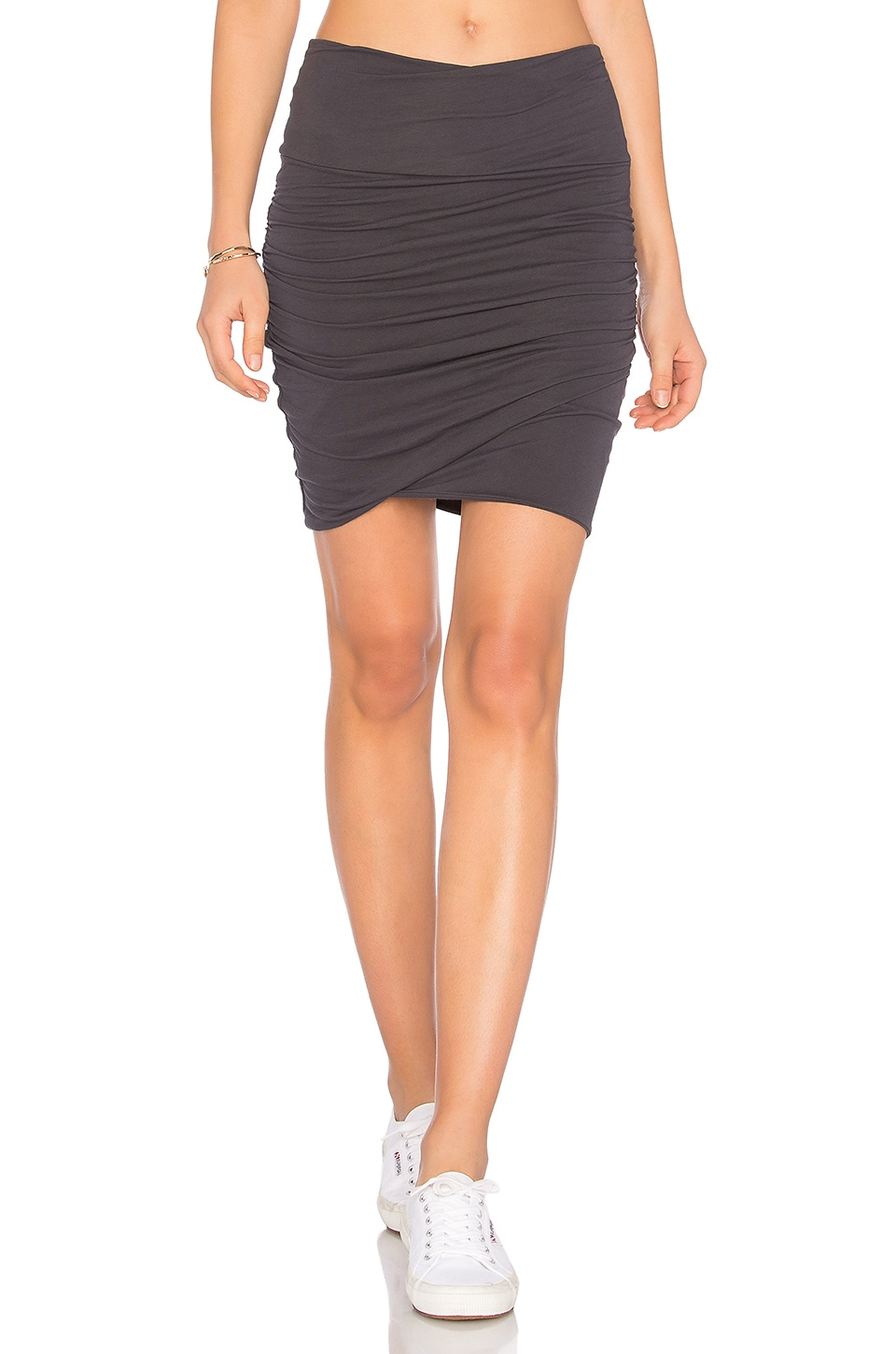 James Perse High Waist Wrap Skirt in Indian Ink